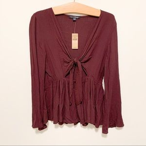 BURGUNDY American Eagle Blouse - Tie Front - AE